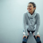 woman happily tired after running